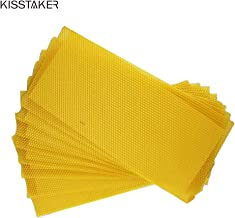 KISSTAKER 15PCS Bee Honey Sheets Beehive Wax Foundation Beekeeping Equipment Bee Comb Honey Frame