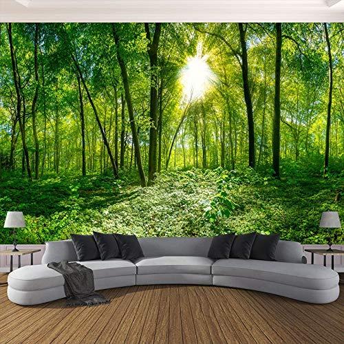 Hintergrundbild 3D Wallpaper Wohnzimmer Benutzerdefinierte Foto-Wandtapete Grüne Waldbäume Naturlandschaft 3D Stereoskopische Vliesprägung Tapete für Wohnzimmer