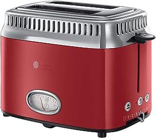 retro toaster rot Russell Hobbs Toaster Retro Rot 21680-56 1300W, Countdown-Anzeige im Retrodesign, Brötchenaufsatz, 6 einstellbare Bräunungsstufen  Auftau-& Aufwärmfunktion, Schnell-Toast-Technologie