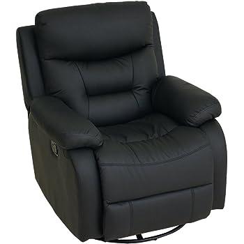 LOWYA リクライニングソファ リクライニングチェア 回転 ソファ 一人掛け ブラック