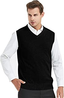 Mens Business Solid Color Plain Sweater Vest, Cotton Fit Casual Pullover