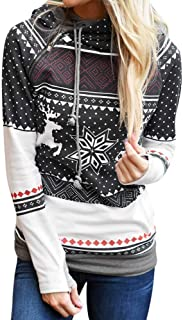 Sunhusing Ladies Christmas Polka Dot Bohemian Print Zip Hooded Long Sleeve Sweater Top