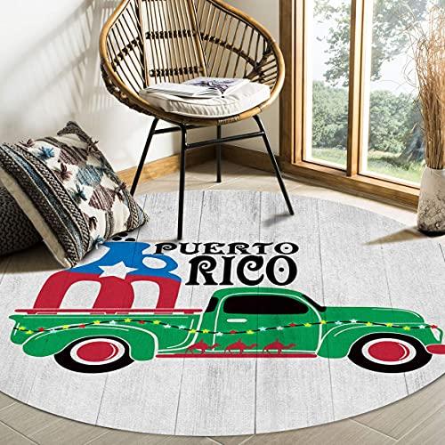 Alfombra de área redonda grande para sala de estar Coche de Puerto Rico Retro Botella de vino Grano de madera Alfombras decorativas contemporáneas Alfombras antideslizantes con respaldo de gom