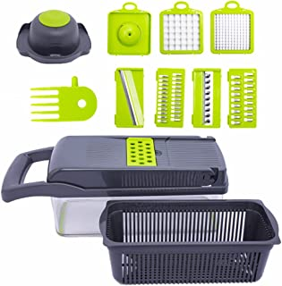 YAOYUANOnion Chopper, 12-in-1 (with Container) Vegetable Chopper, Fruit Cheese Potato Chopper, Multi-Blade Large Chopper, ...