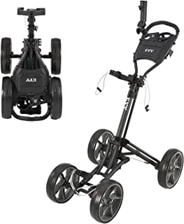 KVV 4 Wheel Foldable/Collapsible Golf Push Cart-with Super Strong & Lightweight Aluminum Frame-One Step to Open and Close