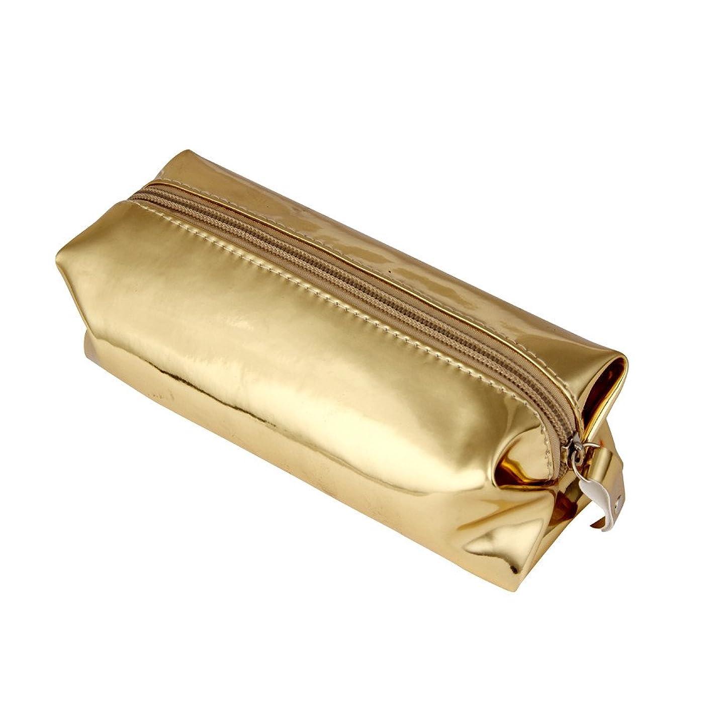 技術的な責任者固めるFortan化粧ポーチ キラキラ革 方形 化粧品 収納バッグ メイクボックス コスメポーチ メイクアップポーチ 小物入れ 大容量 携帯し易い (金色)
