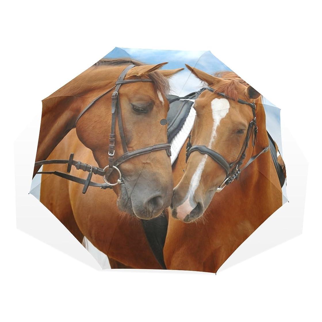 ラフト共感する重量AOMOKI 折り畳み傘 折りたたみ傘 日傘 UVカット 手開き 三つ折り 晴雨兼用 梅雨対策 耐強風 8本骨 男女兼用 馬柄 アニマル