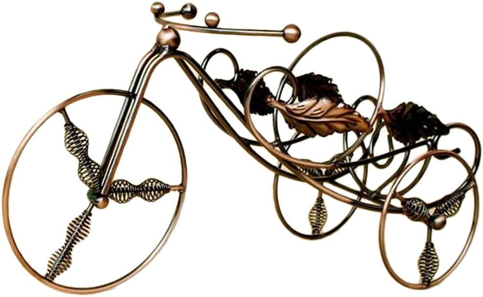 Flameer Wine Racks Omaha Mall Countertop Tricycle Metal Wire Max 74% OFF B Statue
