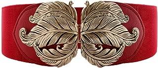 Vintage Stretch Wide Waist Belt For Women Dress Waistband Metal Leaf Buckle