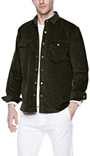 Chain Stitch Mens Long Sleeve Thick Corduroy Canvas Shirt Button Down Jackets