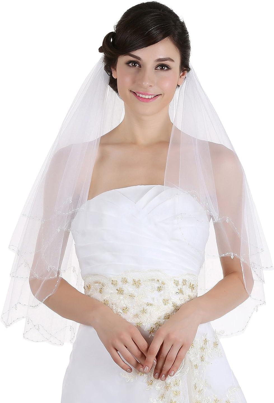 SAMKY 2T 2 Tier Scallop Edge Dangle Crystals Bridal Wedding Veil