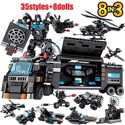 AIMG City Police Station Coche Motocicleta Bloques de construcción Camión Barco Robot Ladrillos DIY Juegos de Juguetes para niños Equipo SWAT Armas Técnicas
