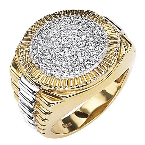 Men's 18K Yellow Gold over Sterling Silver Round Genuine Diamond Pave Two Tone Ribbed Ring (1/6 cttw, I Color, I3 Clarit Size 12