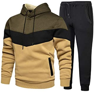 Men's Jogging Tracksuit 2 Piece Athletic Outfit Hoodie Sports Sweatsuit Pullover Suit Sets