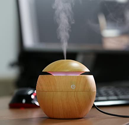 WideWings Wood Humidifier | Mini Aroma Essential Oil Diffuser, Wood Grain Cool Mist Humidifier Portable Ultrasonic Humidifier With 6 Color Changing Lights Multi-color (Color - As per Availability)
