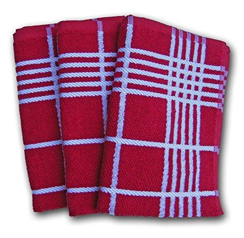 Ross Küchen-Frottiertuch Quadrat großes Karo 3er Pack Rot