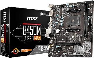 MSI B450M-A PRO MAX AMD M-ATX Motherboard - AM4 Ryzen, 2xDDR4, 4xSATAIII, M.2, 4xUSB3.2, 2xUSB2.0, 1xPCIE x16, DVI-D 1xHDMI