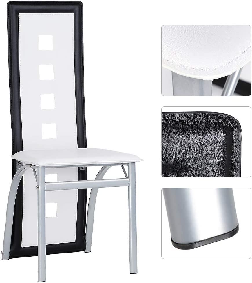 Turefans 2 x Chaise de Salle à Manger ,Style Nordique (Blanc) Blanc, Noir