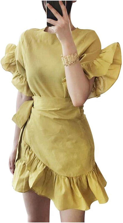 Cute Emma Petal Sleeve Irregular with Adjust Belt Summer Dress Female Top Hem Ruffles Women's Dresses Clothes