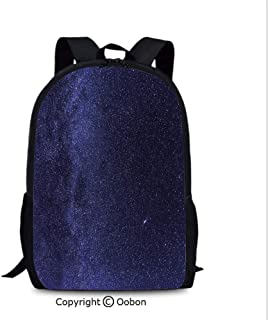 Outdoor Travel Backpack, Night Sky with Stars Milky Way Cosmos Galaxy Infinite, School Bag :Suitable for Men and Women, School, Travel, Daily use, etc.Indigo Dark Blue