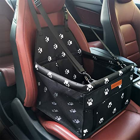 SWIHELP Pet Car Booster Seat Travel Carrier Cage, Oxford Breathable Folding Soft Washable Travel Bags for Dogs Cats or Other Small Pet: image