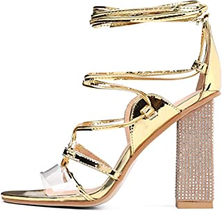 Luticessy Women's Crystal Gladiator Ankle Strap Lace Up Sandals Rhinestone Block High Heels Crisscross Strappy Open Toe Sexy Shoes