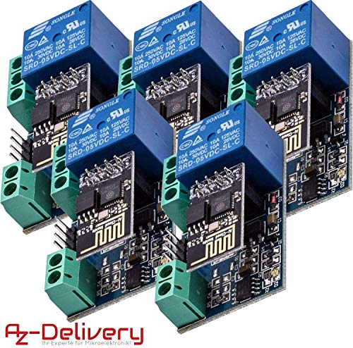 AZDelivery 5 x Modulo WiFi ESP8266-01S ESP-01 5V con Adaptador de Rele compatible con Arduino con E-book incluido!