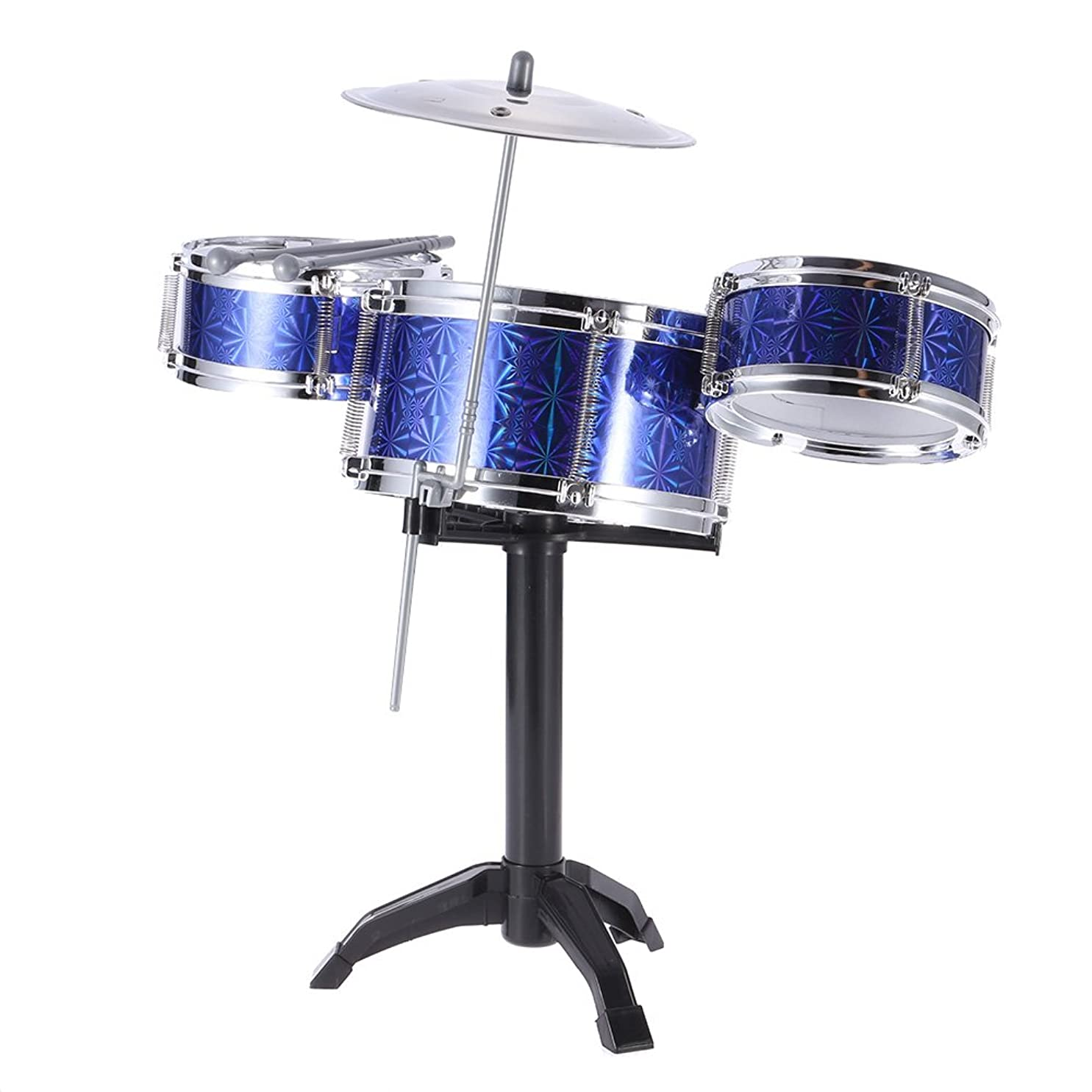 戦士鮮やかな殉教者ammoon 7点セット キッズドラム ドラムセット 3色選択 楽器 玩具 3ドラム/1小シンバル/2スタンド/2ドラムスティック子供 キッズパーカッション