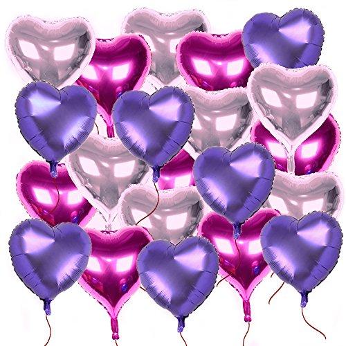 AONER 21x Globos Metalicos Corazón con Cintas Globos de Helio Decoración para Boda y Fiesta 18in (21pcs*18in, 3 Colores)