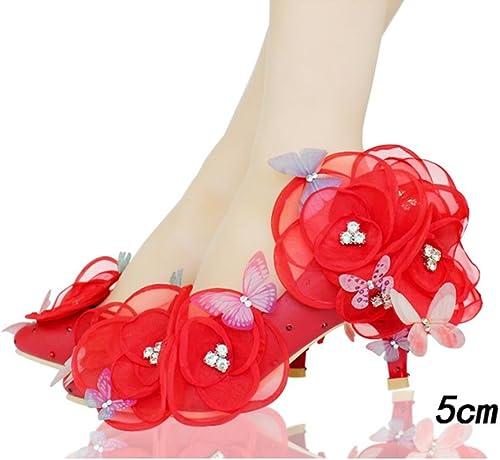 QPYC Damen Hochzeit Schuhe Erwachsene Kleid Schuhe Spitze Kristall Braut Hochzeit Schuhe Frauen Singles Schuhe Freundinnen Weiße Blaumen Schmetterling , 38 , 5cm rot