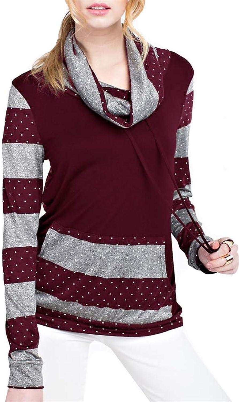 ETCYY Women's Casual Long Sleeve Stripe Tunic Blouse Cozy High Neck Solid Sweatshirt with Pocket