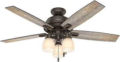 """Hunter Donegan Indoor Ceiling Fan with LED Lights and Pull Chain Control, 52"""", Onyx Bengal"""