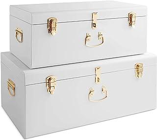 Beautify Set de 2 Grande Coffres Malles de Organisation Rangement en Métal Vintage Pour Salon, Chambre, Dressing – Blanc e...