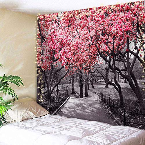 AMBZEK NYC Flower Tapestry 60Hx80W Inch Floral Blossoms in Central Park Landscape with Cherry Trees Forest in Spring Season Picture Art Wall Hanging Bedroom Living Room Dorm Decor Fabric Red Grey
