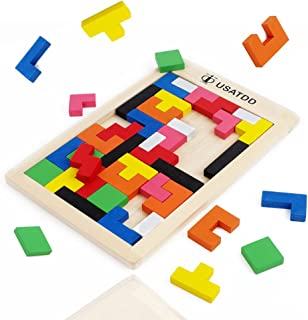 USATDD Wooden Tetris Puzzle Tangram Jigsaw Brain Teasers Toy Building Blocks Game Colorful Wood Puzzles Montessori Intelligence Educational Gift for Baby Toddlers Kid 40 Pcs