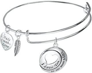 Qina C Sterling Silver ``I Love You to The Moon and Back`` Dangle Charm Adjustable Wire Bangle Bracelet