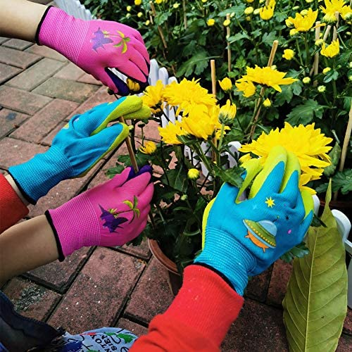 Kids Garden Gloves 5 to 12 Years Old Children Gardening Gloves Boys and Girls 2 pairs of pink product image