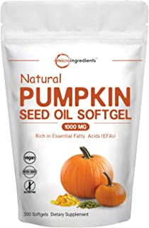 Maximum Strength Pumpkin Seeds Oil 2000mg Per Serving, 300 Liquid Softgels, Pumpkin Supplement, Strongly Supports Urinary, Bladder and Prostate Health, No GMOs and Vegan Friendly