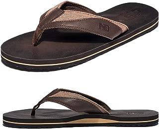 Men's Flip Flops Leather Thong Sandals for Men Wide Width Arch Support Absorbs Shock