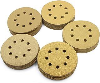 5in Sanding Discs, 100PCS 60 80 120 150 220 Grit Sandpaper Assortment, 8 Holes Dustless..