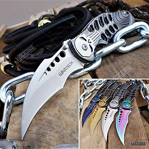 KCCEDGE BEST CUTLERY SOURCE EDC Pocket Knife Camping Accessories Razor Sharp Edge Alien Punisher Karambit Folding Knife Camping Gear Survival Kit 58267 (Black)
