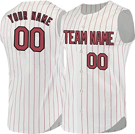 12cc737a91c Pinstripe Custom Sleeveless Baseball Jersey for Men Women Youth Embroidered  Name   Numbers S-8XL