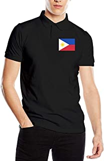 Playera Tipo Polo de Manga Corta con Bandera de Filipinas para Hombre