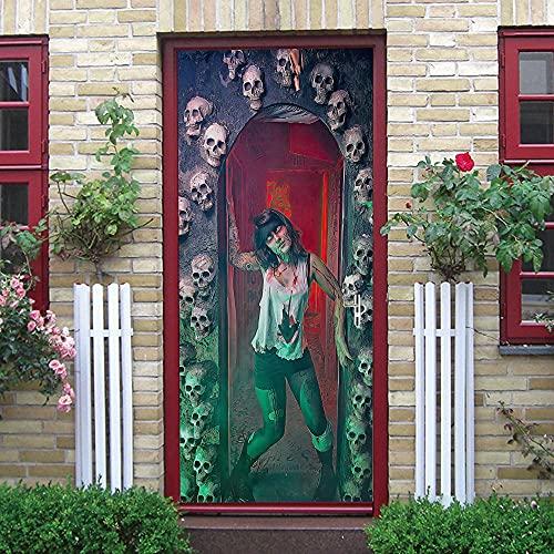 ZOOINB Calcomanía De Puerta 3D Halloween Esqueleto Zombi Pegatinas De Puerta Decoración Mural De Puerta PVC Removible Mural De Pared Papel Tapiz De Puerta para Decoración del Hogar 95X215Cm