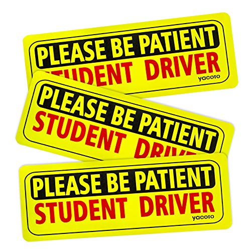 Yacoto Student Driver Magnet for Car, 3 Pcs of Reflective Safety Sign New Driver Magnet for Car Please Be Patient Student Driver, Yellow Sign Vehicle Magnet