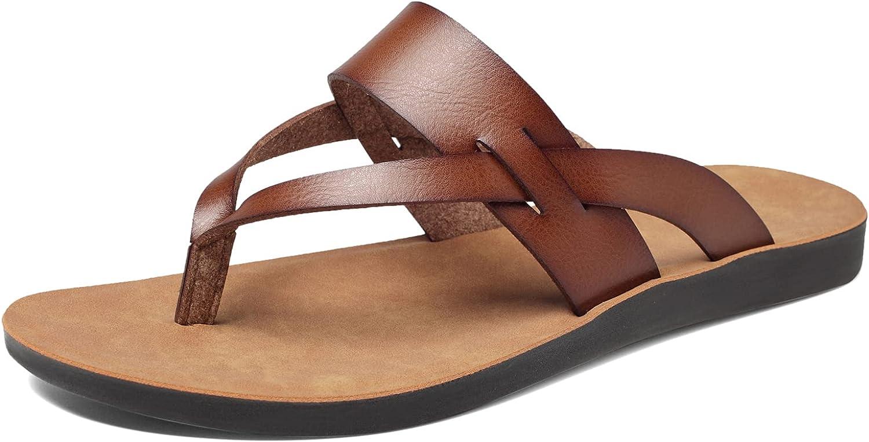 NAYAZE Womens Flat Sandals Flip Flops Casual Thong Leather Beach Slipper