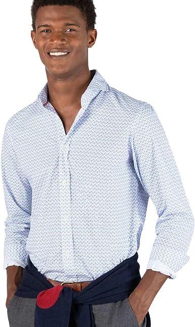 El Ganso - Colección AW19 - Camisa de Popelín con Estampado de Aviones - para Hombre - Manga Larga
