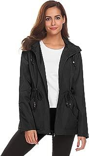Women's Waterproof Lightweight Mesh Lining Raincoat with Hood Rain Jacket Active