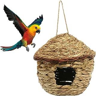 Bird Nest Breeding Cage Bird House for Outside Hanging, Straw Hand Woven Bird Nesting Box Bird Home for Parrot, Cockatiel, Parakeet, Canary, Finch Bird, Hummingbird, Dove, Budgie
