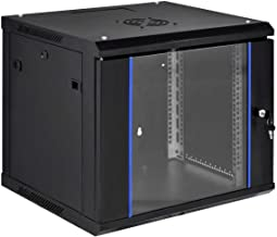 9U Deluxe Organizing Networking Equipment IT Wallmount Server Cabinet Enclosure 20-Inch Server Data Network Cabinet Rack with Locking Glass Door 18-Inches Deep Black